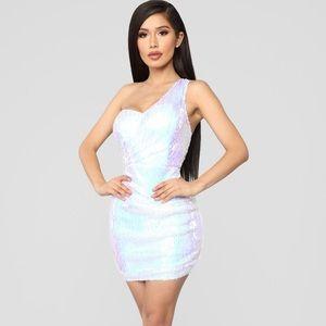 Fashion Nova White sequin dress